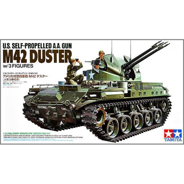 tamiya 35161 U.S. Self-propelled A.A. Gun M42 Duster Kit en plástico para montar y pintar. Incluye 3 figuras.