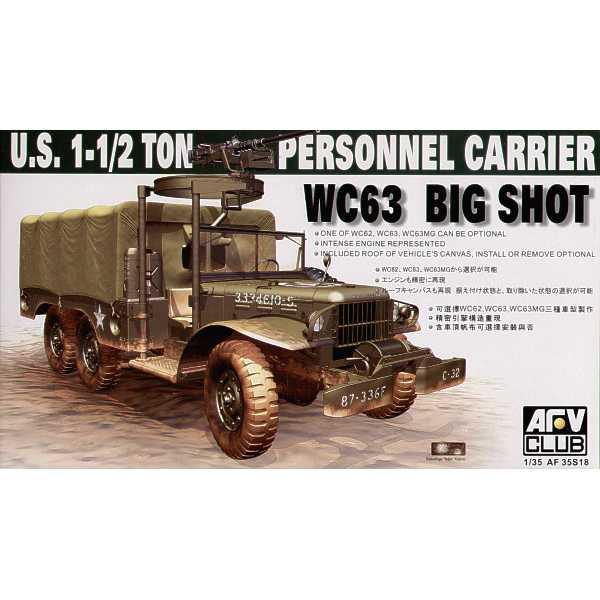 afv club 35s18 US 1-1/2Ton Personnel Carrier WC63 1/35 Kit en plástico para montar y pintar. Hoja de calcas con 2 decoraciones.