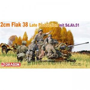 2cm Flak38 Late mit Sd.Ah.51 Kit en plástico para montar y pintar. Incluye cinco figuras y fotograbado. Piezas 200+