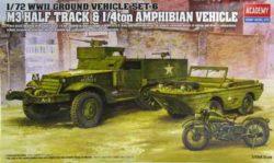 ACADEMY 13408 M3 Halftrack & 1/4ton Amphibian vehicle 1/72 Kit en plástico para montar y pintar.