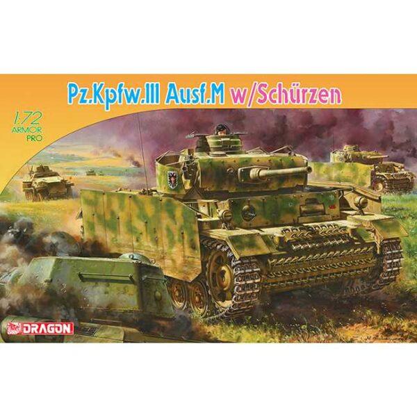dragon-7323-Pz.Kpfw.III Ausf. M w/Schurzen 1/72 Kit en plástico para montar y pintar. Incluye piezas en fotograbado. .