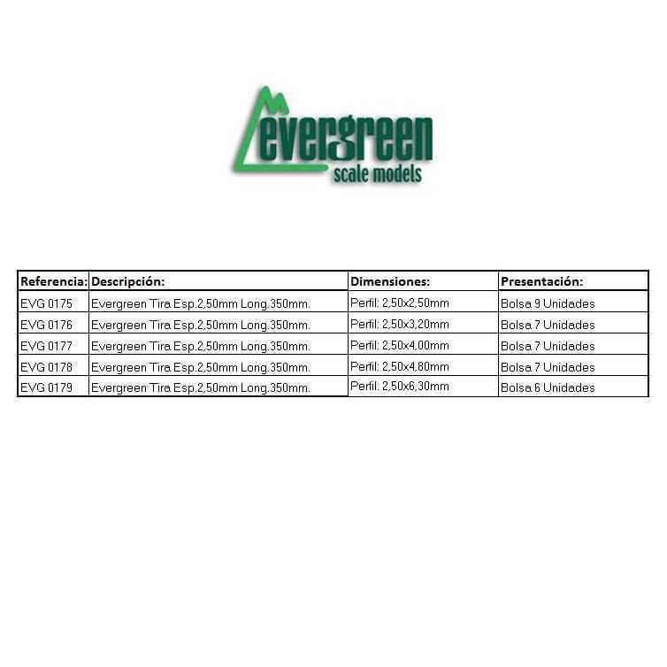 Evergreen Tira Esp 2.50mm