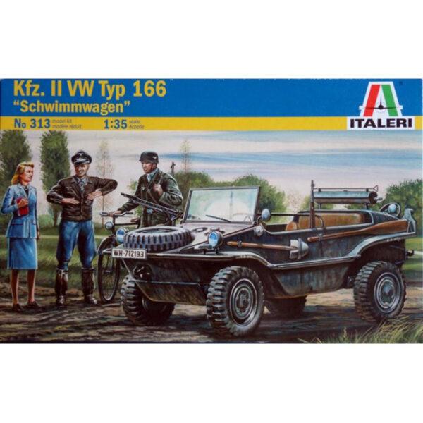 italeri 0313 VW Typ 166 Kfz.II Schwimmwagen Kit en plástico para montar y pintar. Incluye 3 figuras y 1 bicicleta.