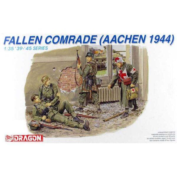 dragon 6119 Fallen Comrade Aachen 1944 Kit en plástico para montar y pintar. Incluye 4 figuras de soldados alemanes.