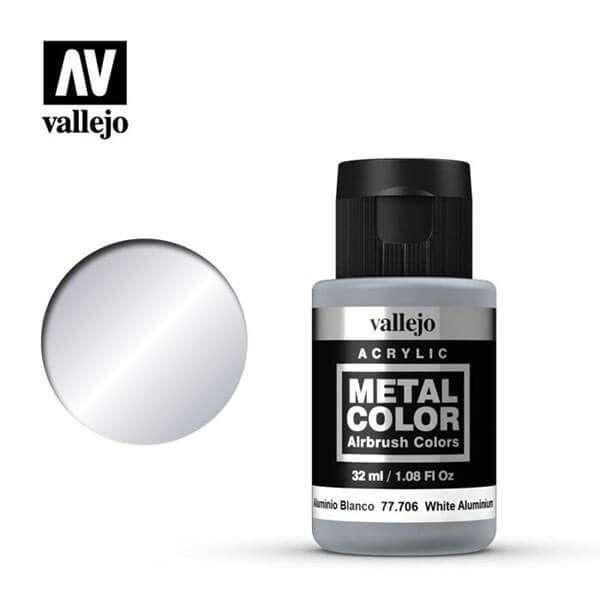 acrylicos vallejo 77706 metal color vallejo white aluminum 32ml