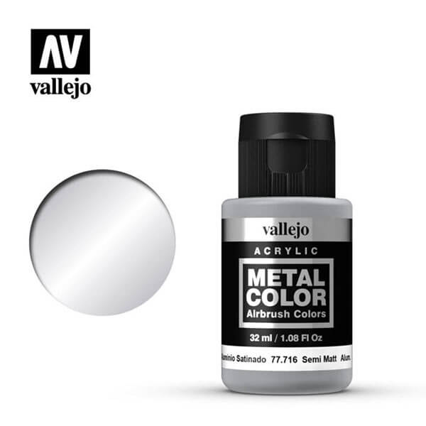 acrylicos vallejo 77716 metal color vallejo semi mate aluminum 32ml