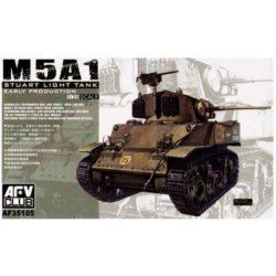 afv 35105 M5A1 Stuart Light Tank Early Version Kit en plástico para montar y pintar. Incluye piezas en fotograbado, dos tipos de rueda tensora y cañón torneado en aluminio.