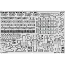 eduard 53146 HMS Queen Elizabeth 1943 parte 2 Segundo juego de fotograbados de Eduard para la maqueta del HMS Queen Elizabeth 1943 de Trumpeter. Dedicado a las armas antiaereas.