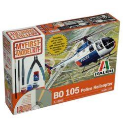 italeri 12003 BO 105 Police Helicopter My First Model Kit Kit en plástico para montar y pintar. Incluye pegamento, pintura, pincel, pinzas, lima y alicate de corte. Incluye DVD con tutorial de montaje y pintura de la maqueta.
