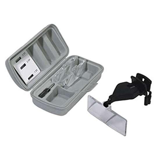 chaves 09307 Lupa Led con pinza para Gafas Una lupa ligera y práctica con sujeción de pinza para todo tipo de gafas, presentado en un cómodo estuche. El juego incluye tres lentes intercambiables de 1.5 ; 2.5 y 3.5 aumentos.