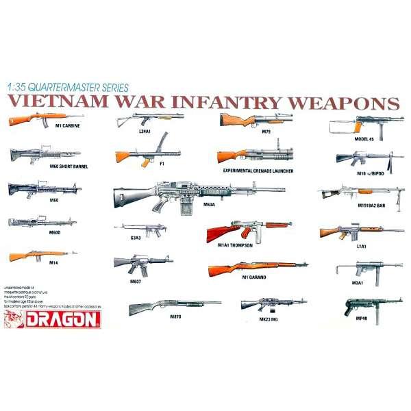 dragon 3818 Vietnam War Infantry Weapons Kit en plástico para montar y pintar. Un completo juego de armas de infantería utilizadas durante la Guerra de Vietnam.