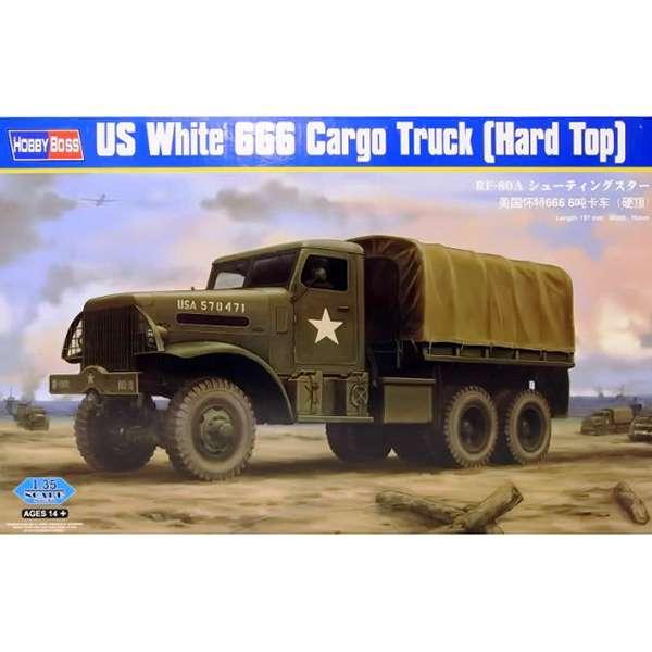 hobby boss 83801 US White 666 Cargo Truck Hard Top Kit en plástico para montar y pintar. Incluye piezas en fotograbado. Decoración USA Army. Dimensiones: 197mm x 70mm.