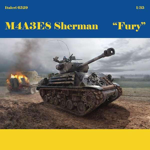 italeri 6529 M4A3E8 SHERMAN - FURY Kit en plástico para monatr y pintar.
