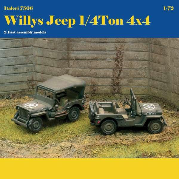 italeri 7506 WILLYS JEEP 1/4 TON 4X4 FAST ASSEMBLY Kit de plástico para montar y pintar. La caja contiene piezas para montar 2 Willys Jeep de montaje rápido.
