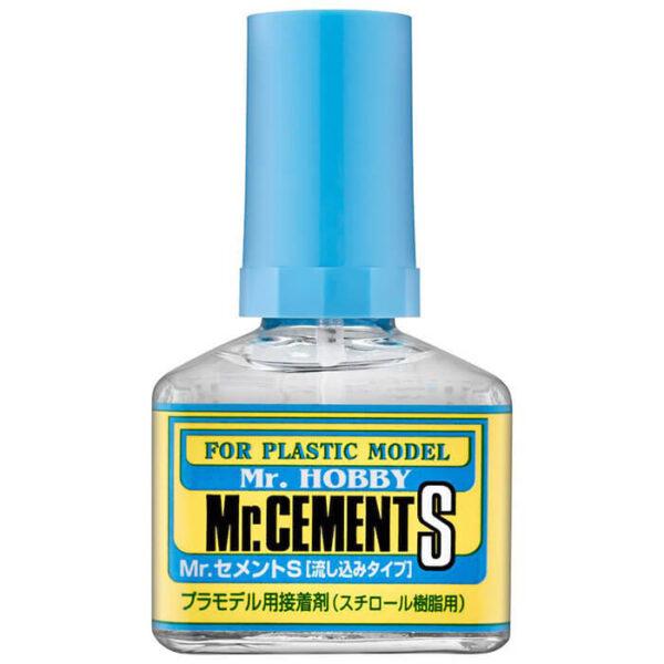 MC129 Mr Cement S 40ml ADHESIVO DE POLIESTIRENO Pegamento extra líquido para las maquetas de plástico. Densidad fluida, pega por capilaridad y no deja residuos.
