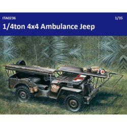 italeri 0326 1/4 ton 4x4 AMBULANCE JEEP El ¼ Ton Jeep es uno de los vehículos más versátiles jamás construidos. Gracias a su sólida construcción y su capacidad para rodar sobre cualquier tipo de terreno, se le asignaron innumerables misiones. Una de ellas fue la de ambulancia.