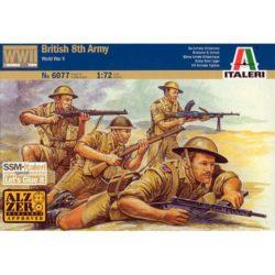 italeri 6077 British 8th Army Kit en plástico para montar y pintar. Incluye 50 figuras de soldados del 8º Ejercito Británico en el norte de Africa. Los soldados aquí representados visten el tradicional uniforme tropical y estan armados con rifles Lee Enfield, subametralladoras Sten y ametralladoras Bren.