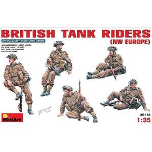 miniart 35118 British Tank Riders NW Europe Kit en plástico para montar y pintar. Incluye 5 figuras de infantería Británica montada sobre tanques en el noroeste de Europa. Piezas 71.