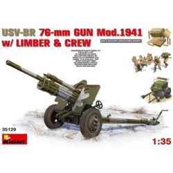 miniart 35129 USV-BR 76mm Gun Mod 1941 Limber & Crew El kit se compone del cañón soviético USV-BR 76mm, el armón, cajas de munición y 5 figuras de artilleros