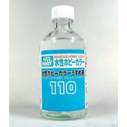 mr hooby T110 Aqueous Hobby Color Thinner Disolvente para las pinturas acrílicas de Gunze Sangyo y Tamiya. Botella de cristal de 110ml.