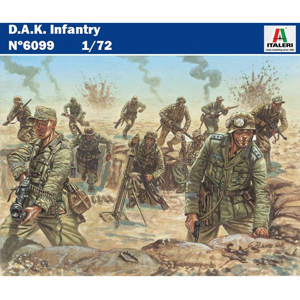 italeri 6099 DAK Infantry Kit en plástico para montar y pintar. Incluye 48 figuras de soldados del Deutsches Afrika Korps en 16 posturas diferentes. Escala 1/72