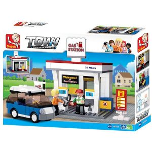 Sluban B0568 Gas Station Juego de construcción por bloques de plástico compatibles con Lego y otras marcas.