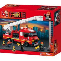 Sluban B0221 Fire Ladder Truck Juego de construcción por bloques de plástico compatibles con Lego y otras marcas.