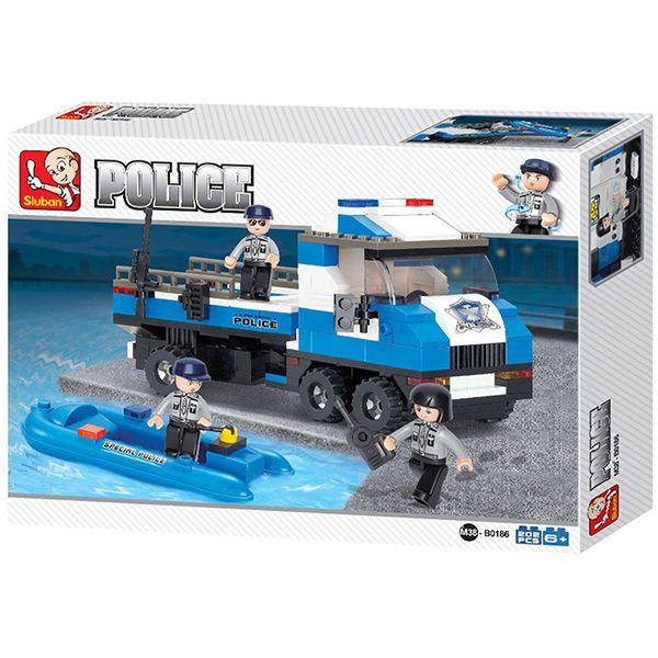 Sluban B0186 Police Truck Juego de construcción por bloques de plástico compatibles con Lego y otras marcas.
