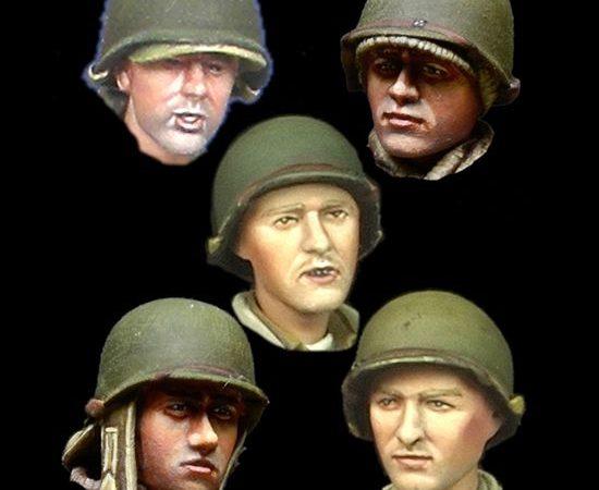alpine miniatures h019 WW2 US Infantry Head Set Juego de 5 cabezas en resina para figuras de Infantería USA durante la 2ªGM. Escala 1/35