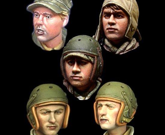 alpine miniatures h020 WW2 US Tanker Head Set Juego de 5 cabezas en resina para figuras de Infantería USA durante la 2ªGM. Escala 1/35