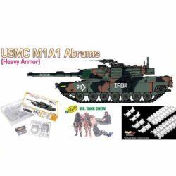 dragon 9125 USMC M1A1 Abrams Heavy Armor + U.S. Tank Crew Kit en plástico para montar y pintar. Incluye cadenas por eslabones individuales y 4 figuras de tripulación de tanque americano