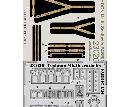 eduard 23020 Seatbelts Typhoon Mk.Ib Fabric 1/24 Cinturones de seguridad impresos a color y hebillas en fotograbado para las maquetas del Typhoon Mk.Ib de Airfix 1/24.