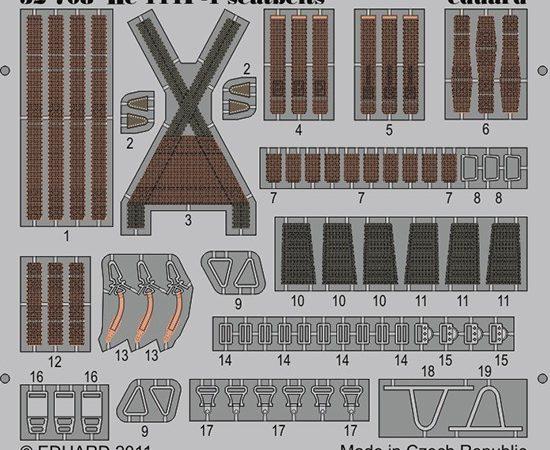 Seatbelts Heinkel He 111 1/32 Cinturones de seguridad en fotograbado coloreado para el Heinkel He 111