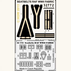 eduard 32772 Seatbelts RAF WWII Fabric 1/32 Cinturones de seguridad impresos a color y hebillas en fotograbado para los aviones de la Royal Air Force durante la Segunda Guerra Mundial.