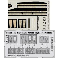 eduard 32773 Seatbelts Luftwaffe WWII Fighter Fabric 1/32 Cinturones de seguridad impresos a color y hebillas en fotograbado para los cazas de la Luftwaffe durante la Segunda Guerra Mundial.