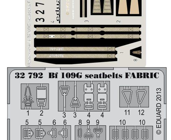 eduard 32792 Seatbelts Messerschmitt Bf 109G Fabric 1/32 Cinturones de seguridad impresos a color y hebillas en fotograbado para el caza de la Luftwaffe Messerschmitt Bf 109G.