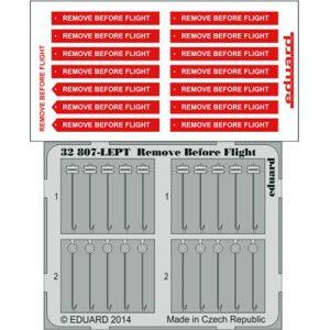 eduard 32807 Remove Before Flight Fabric 1/32 Piezas en fotograbado y material impreso a color de los letreros Remove Before Flight de la Fuerza Aérea.