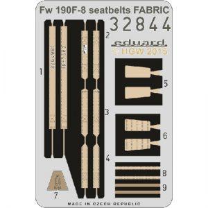 eduard 32844 Seatbelts Focke-Wulf Fw 190F-8 Fabric 1/32 Cinturones de seguridad impresos a color y hebillas en fotograbado para las maquetas del Focke-Wulf Fw 190F-8.