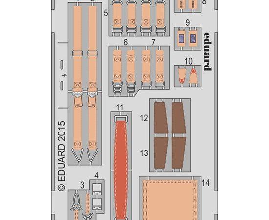 eduard 32848 Seatbelts Junker Ju 87G-2 1/32 Cinturones de seguridad en fotograbado coloreado para el Junker Ju 87G-2