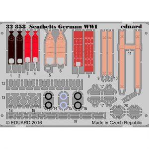 eduard 32858 Seatbelts German WWI 1/32 Cinturones de seguridad en fotograbado coloreado para los aviones alemanes durante la Primera Guerra Mundial.