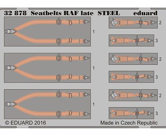 eduard 32878 Seatbelts STEEL RAF Late WWII 1/32 Cinturones de seguridad en fotograbado coloreado para los aviones ingleses durante la Segunda Guerra Mundial.
