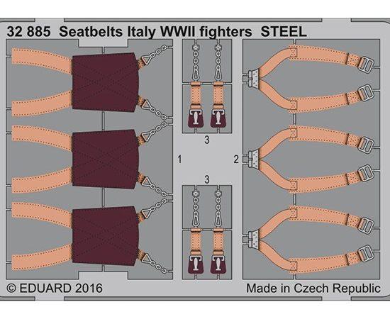 eduard 32885 Seatbelts STEEL Italy Fighters WWII 1/32 Cinturones de seguridad en fotograbado coloreado para los aviones de caza italianos durante la Segunda Guerra Mundial.