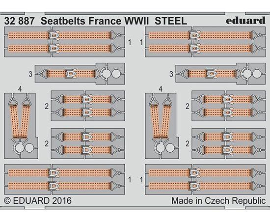 eduard 32887 Seatbelts STEEL France WWII 1/32 Cinturones de seguridad en fotograbado coloreado para los aviones franceses durante la Segunda Guerra Mundial.