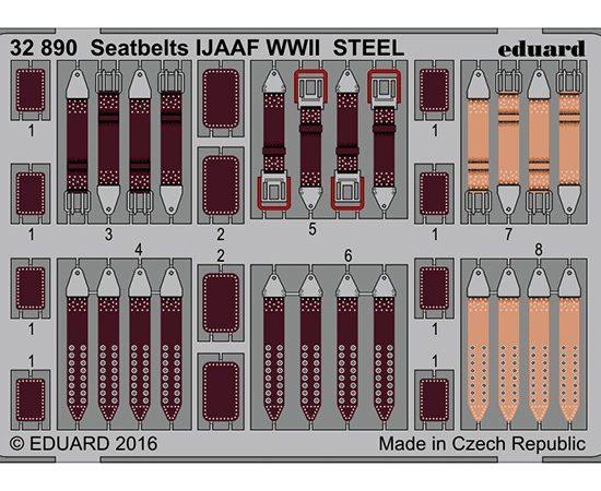 eduard 32890 Seatbelts STEEL IJAAF WWII 1/32 Cinturones de seguridad en fotograbado coloreado para los aviones de la Imperial Japanese Army Air Force durante la Segunda Guerra Mundial.