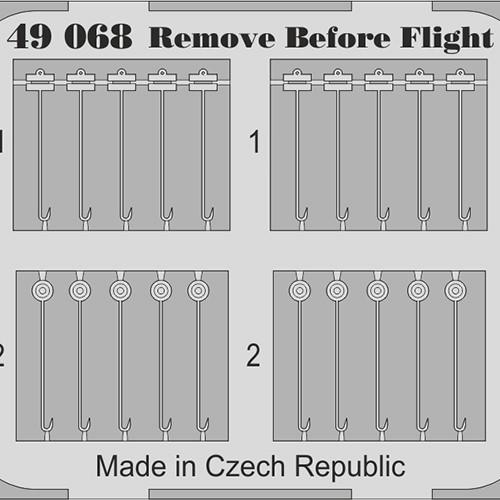 eduard 49068 Remove Before Flight Fabric 1/48 Piezas en fotograbado y material impreso a color de los letreros Remove Before Flight de la Fuerza Aérea
