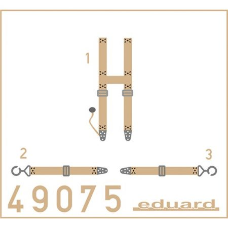 eduard 49075 SSW D.III Siemens Seatbelts Superfabric 1/48 Cinturones de seguridad impresos a color