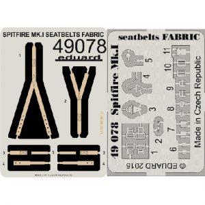 eduard 49078 Seatbelts Spitfire Mk.I Fabric 1/48 Cinturones de seguridad impresos a color y hebillas en fotograbado para la maqueta del Spitfire Mk.I.