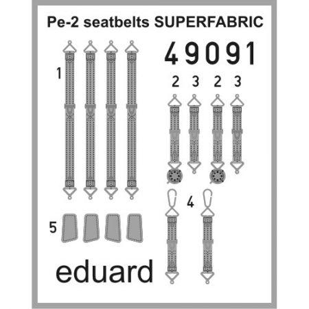eduard 49091 Seatbelts Pe-2 Superfabric 1/48 Cinturones de seguridad impresos a color para las maqueta de Zvezda de Pe-2