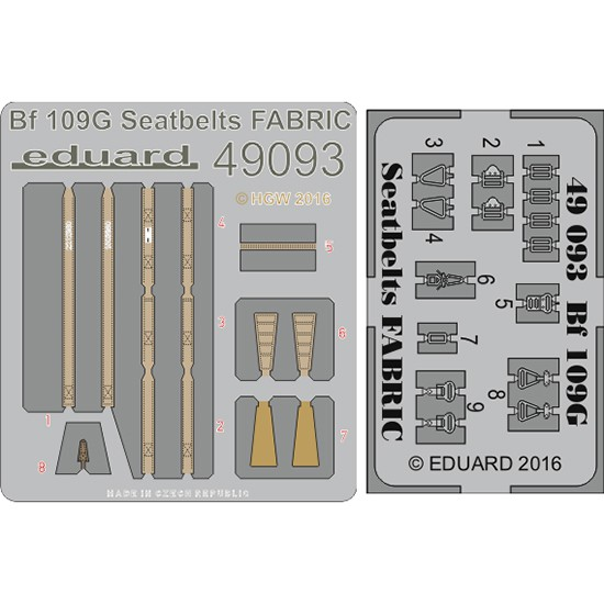 eduard 49093 Seatbelts Bf 109G Fabric 1/48 Cinturones de seguridad impresos a color y hebillas en fotograbado para la maqueta del Messerschmitt Bf 109G