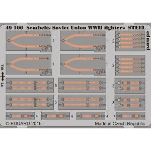 eduard 49100 Seatbelts STEEL Soviet Union Fighters WWII 1/48 Cinturones de seguridad en fotograbado coloreado para los aviones de caza soviéticos durante la Segunda Guerra Mundial.